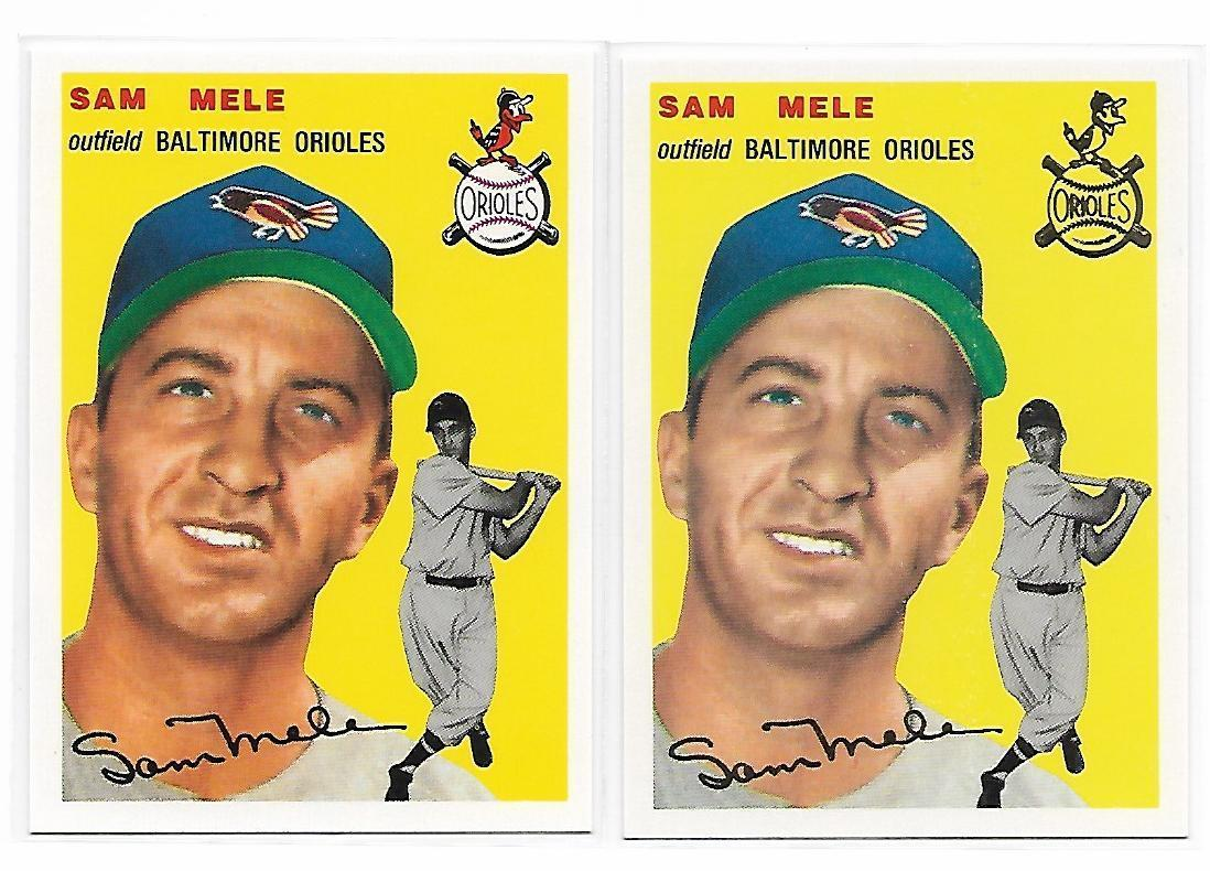 1954 Topps Archives Baltimore Orioles Sam Mele #240 Gold & Regular 2Cards