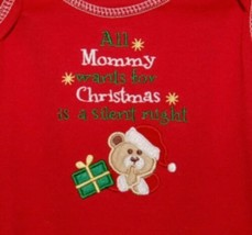 Tender Kisses All Mommy Wants for Christmas Red Bodysuit  Stocking 0-6 months image 2