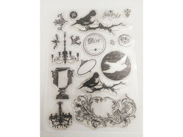 Birds Clear Stamp Set, Includes Birds, Chandeliers, Flourishes and More
