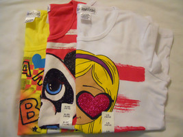 NEW Girls T Shirts Printed Graphic  Sz XS S M L XL Black White Yellow Pink Blue - $12.99