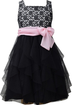 Bonnie Jean Little Girl 2T-6X Black White Pink Lace to Cascade Mesh Social Dress