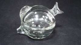 Clear Glass Puffer Bubble Fish Trinket Jewelry Dresser Box Dish Anchor H... - $13.32