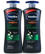 2 Bottles Vasaline 20.3 Oz Men Fast Absorbing Non Greasy Body & Face Lotion - $28.99