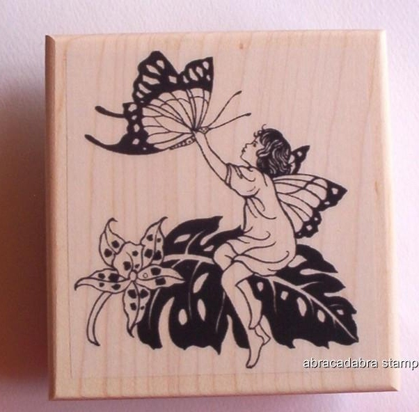 FERN FAIRY CATCHING BUTTERFLY new mounted rubber stamp