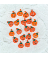 20 Bright Orange Pumpkins Jack'O'Lanterns Halloween Charms Beads - $6.49