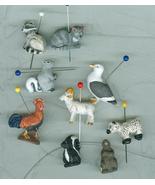 9 Porcelain Peruvian  Folk Art Animal Pendants Beads  - $6.49