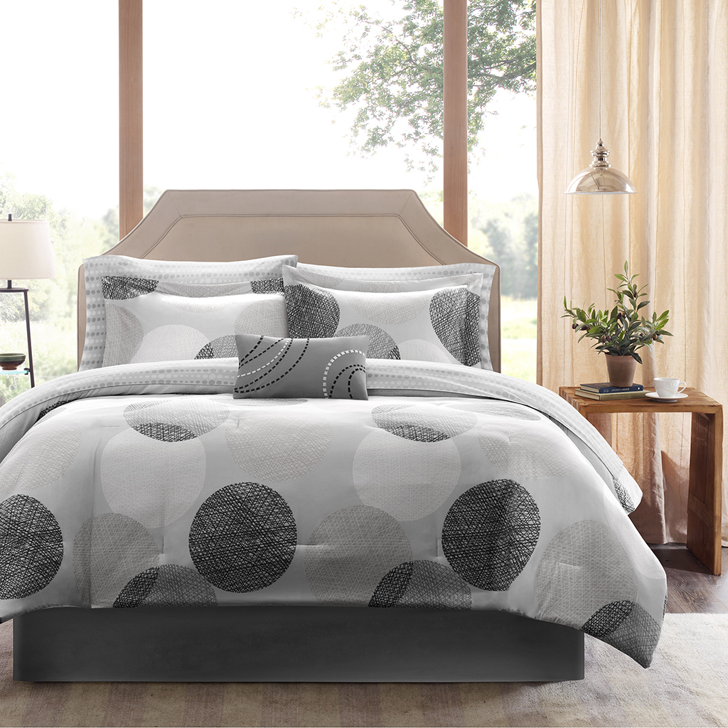 King size Modern 9-Piece Bed Bag Comforter Set with Grey Circles