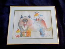 Vintage-NEDOBECK-Signed-Print-16-X-20-Framed-Cat-Bird-Another Bird - $65.99