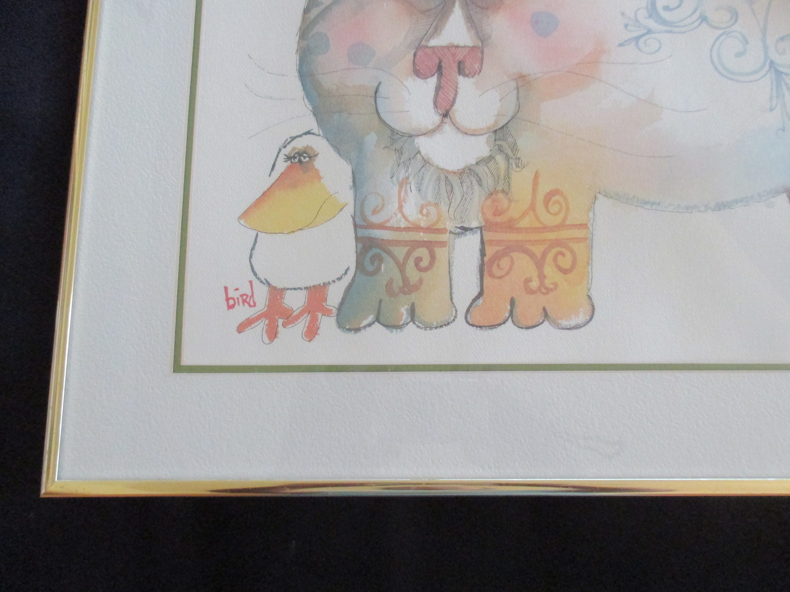 Vintage-NEDOBECK-Signed-Print-16-X-20-Framed-Cat-Bird-Another Bird