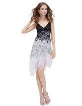 Black And White Asymmetric Spaghetti Strap V-Neck Lace Cocktail Dress - $85.00
