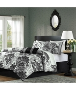 7-Piece Comforter Set with Black Grey Damask Pa... - $175.99 - $215.99