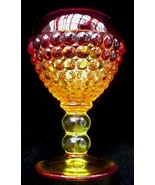 Old Amberina Hobnail Glass Ivy Ball Vase Pilgrim Fenton ? - $17.50