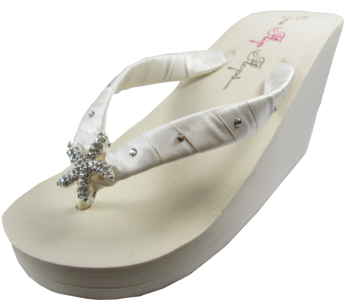 30e1b0d56 White High Wedge Starfish Wedding Flip and 50 similar items