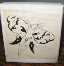 TINY NUDE BUTTERFLY FAIRY BUG mounted rubber stamp - $6.00