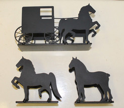 Horse Letter or Napkin Holder Black Silhouette Cut Out Amish Made USA - $18.00