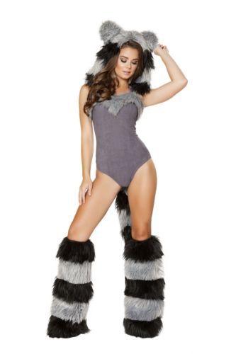 18f052656a09 1pc Furry Raccoon Detachable Hood Romper and 50 similar items
