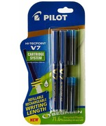 Pilot V7 Hi-tecpoint Roller ball pen with Cartridge System 2 Blue Pens, ... - $9.82