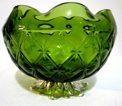 """Vintage Indiana Green Glass Bowl Duette Quilted Diamond Star 4""""x5"""" Metal... - $12.87"""