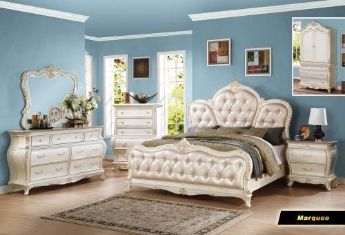 Meridian Marquee Queen Size Panel Bedroom Set Traditional Style 2 Night Stands