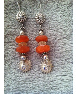 Carnelian, Citrine, and Sterling Silver Sun Ear... - $38.00