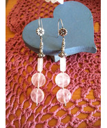 Rose Quartz and Sterling Silver Flower Earrings, Flower Earrings, Romant... - $43.00