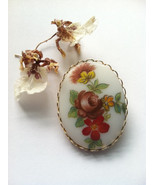 Porcelain Flower Pin, Cameo Flower Brooch, Hand Painted Cameo Brooch, Fa... - $27.00
