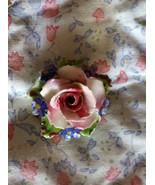 Porcelain Flower Pin, Rose Brooch, Vintage Hand Painted Rose Brooch, Fal... - $25.00