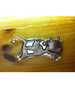Vintage Copper and Silver Tone Cow Brooch Pin, Cow Brooch Pin, Copper Co... - $26.00