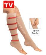 Compression Socks Zipper Leg Support Knee Stockings Open Toe (NEW 1pair ... - $13.00