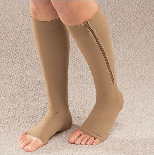 Compression Socks Zipper Leg Support Knee Stockings Open Toe (NEW 1pair Zip Sox)