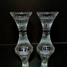 "2 (Two) MIKASA ICE PALACE Cut Lead Crystal Candle Holders 5"" DISCONTINUED - $21.99"