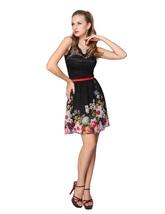 Black Floral Print Illusion Neckline Short Skater Dress With Lace Top - $82.00