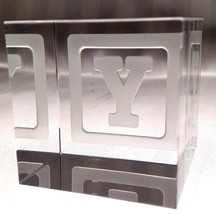 New STEUBEN Glass BABY BLOCK LETTER Y | rare collectible crystal paperwe... - $395.99