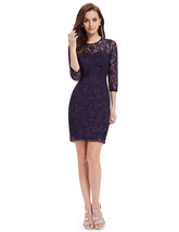 Purple Lace Illusion Neckline Sheath Cocktail Dress With 3/4 Sleeves - $90.00