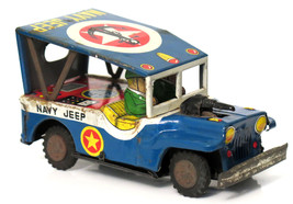 Vintage Yoshi U.S NAVY Military Jeep Friction Toy Tinplate  Car  Japan 1... - $39.38