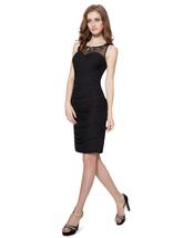 Black Embellished Ruched Sheath Beaded Neckline Short Cocktail Dress - $90.00
