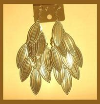 GOLDEN LEAFS 18K Yellow Gold Overlay 4.25 inch Chandelier Dangle Hook Ea... - $29.99
