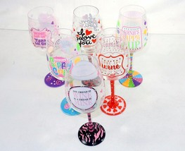 Novelty Wine Glass ~ FUN Quotes Hand Painted On Glass w/Rhinestones NEW - $9.95