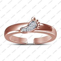 Round Cut White Cz Adjustable Toe Ring In 14K Rose Gold Fn. 925 Sterling... - $17.99
