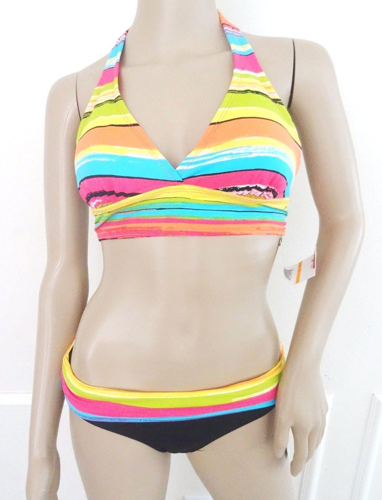 Nwt Anne ColeSwimsuit Halter Swimwear Bikini 2 PC Set Sz S Small Black Yellow - $44.50