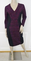 Nwt Donna Morgan Knit Stretch Bodycon Printed Ponte V-Neck Dress Sz 6 Violet - $79.15
