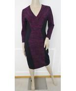 Nwt Donna Morgan Knit Stretch Bodycon Printed Ponte V-Neck Dress Sz 6 Vi... - $79.15