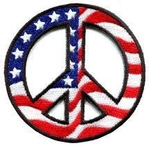 Peace sign American flag hippie retro peace lov... - $2.07