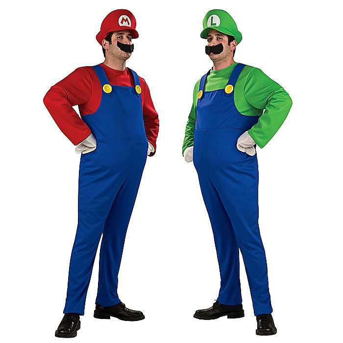 Super Mario Luigi Brothers Nintendo Video Game Mens Adult Fancy Party Costume
