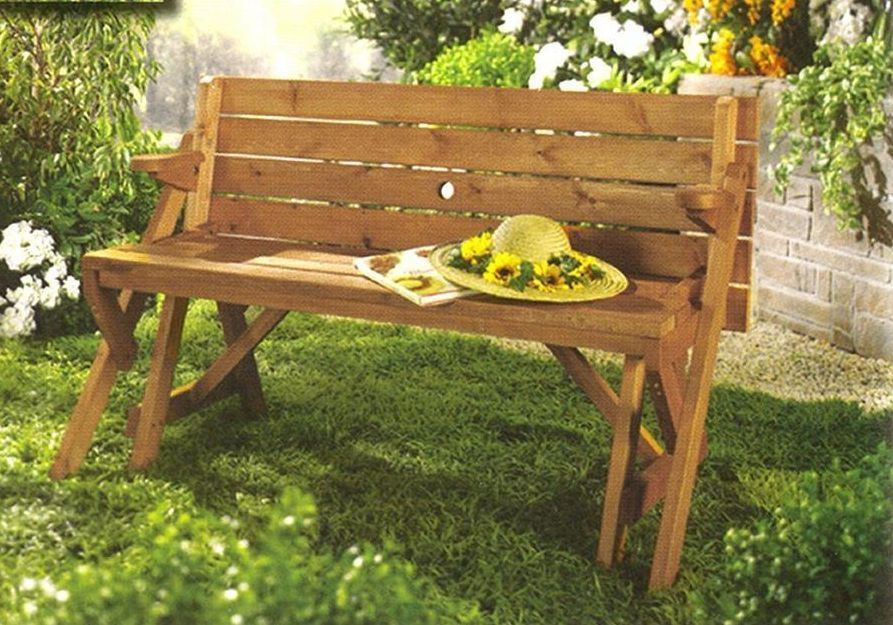 Folding Picnic Table And Bench Combo Convertible Wooden Dining Converts Outdoor Patio Garden