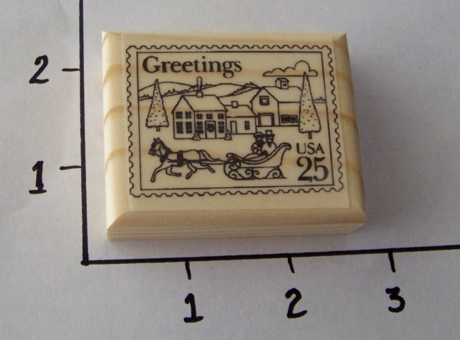 VICTORIAN VILLAGE POSTOID NEW mounted rubber stamp