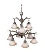 Chandeliers For Dining Rooms Deer Antler Lighting Rustic Cabin Decor Uni... - $270.89 CAD