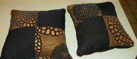 Pair of Black Gold Flower Print Throw Pillows  15 x 15 - $49.95
