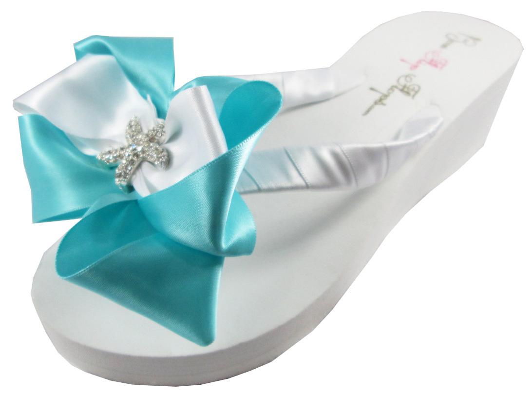 897639064d98f Tiffany Blue Starfish Bow Bridal Flip Flops and 50 similar items