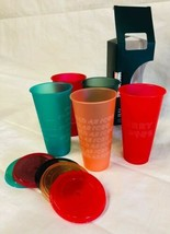 Starbucks Reusable Cold Cups Holiday 2019 Lids Straws Winter Christmas B... - $19.75
